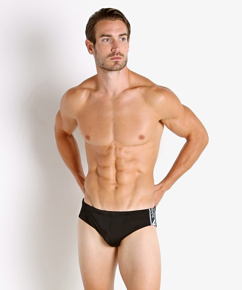 Emporio Armani Bold Logo Tape Swim Brief Black