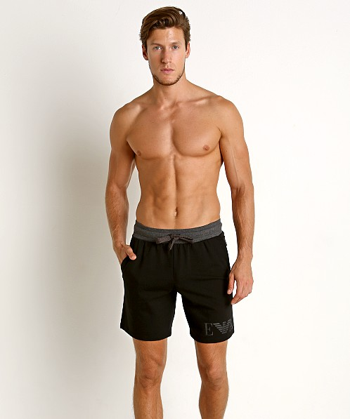 Emporio Armani Melange Mix Terry Bermuda Shorts Black