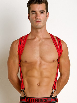 Model in red Cell Block 13 Spider Neoprene Harness