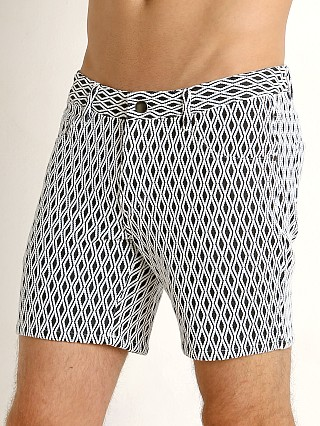 St33le Jacquard Knit Jeans Shorts B&W Diamonds