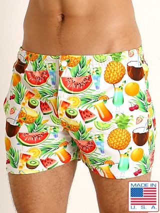 Model in tropical picnic LASC Malibu Swim Shorts
