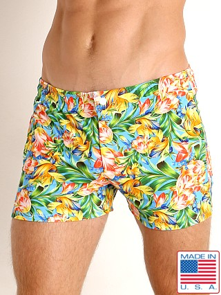 Model in summer blooms LASC Malibu Swim Shorts