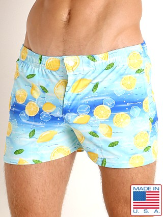 Model in iced lemonade LASC Malibu Swim Shorts