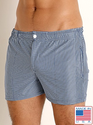 LASC Malibu Swim Shorts Navy Gingham Checks