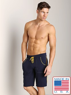 Go Softwear Active Workout Short Navy/Yellow