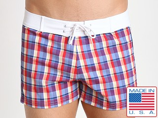 Sauvage Como Italia Plaid Swim Trunk Plum