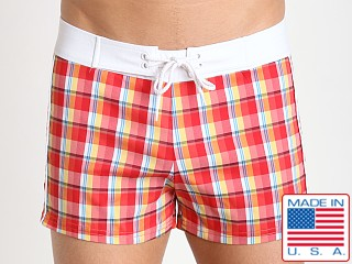 Sauvage Como Italia Plaid Swim Trunk Peach