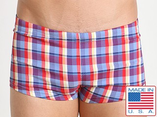 Sauvage Plaid Square Cut Swim Trunk Plum