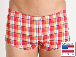 Sauvage Plaid Square Cut Swim Trunk Peach