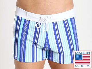 Sauvage Italian Lycra Designer Stripe Trunk Super Blue