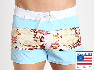 Sauvage Spliced Tropical Print Swim Trunk Sky/Key West