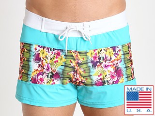 Sauvage Spliced Tropical Print Swim Trunk Tahiti/Jade