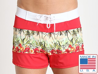 Sauvage Spliced Tropical Print Swim Trunk Red/Palm