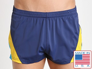 Model in 187nyt Sauvage European Nylon Lycra Color Block Swim Trunk Navy
