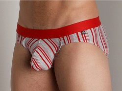 Tulio Lurex Stripe Power Pouch Brief Red