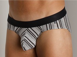 Tulio Lurex Stripe Power Pouch Brief Black
