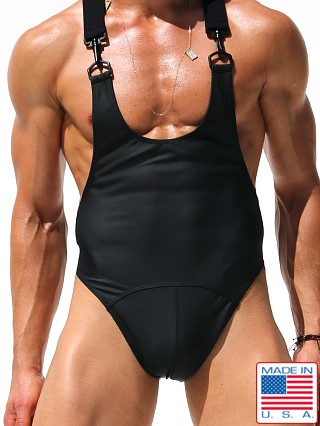 "Model in black Rufskin Morgan Stretch ""Rubber"" Bodysuit"