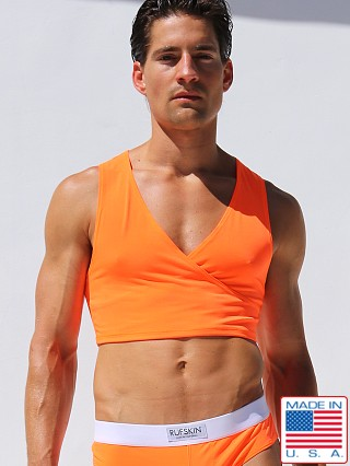 Model in caltrans orange Rufskin Barbare Crossed V-Neck Torso Tank Top