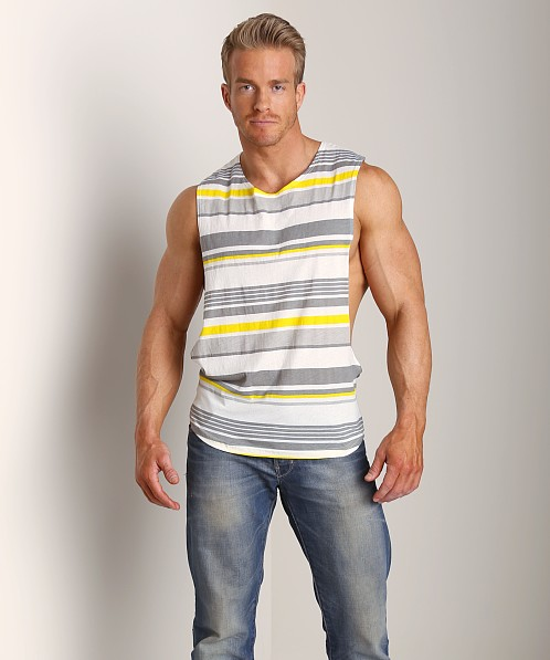 LASC Cut-Out Stripe Tee Grey/Yellow