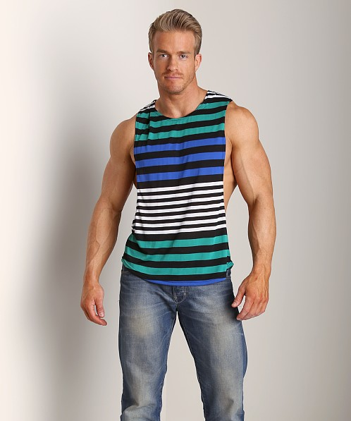 LASC Cut-Out Stripe Tee Black/Royal