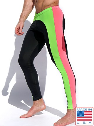 Model in black/neon Rufskin Plyo Neon Stretch Sport Leggings