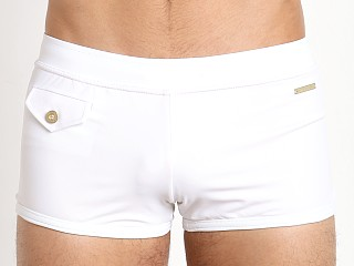 Parke and Ronen Ibiza Solid Square Cut Swim Trunk White