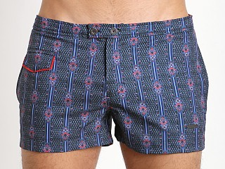 "Parke and Ronen 3"" Lido Print Stretch Swim Short Jimi Navy"