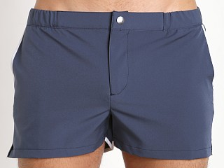 "Parke and Ronen 2"" Angeleno Solid Stretch Swim Short Mid Blue"