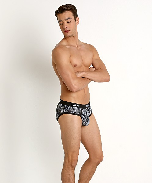 2xist Graphic Cotton No-Show Brief Digi Zebra Black/White