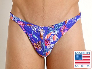 Model in royal undersea LASC Super Low Rise Swim Brief