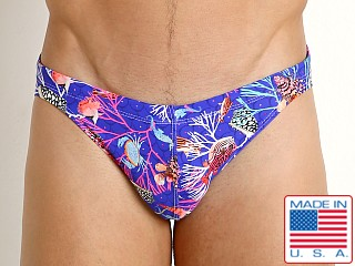 Model in royal undersea LASC St. Tropez Low Rise Swim Brief