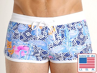 LASC American Square Cut Swim Trunks Blue Flamingo
