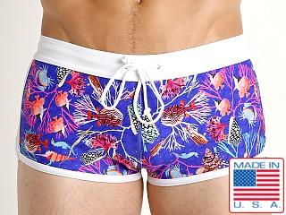 Model in royal undersea LASC American Square Cut Swim Trunks