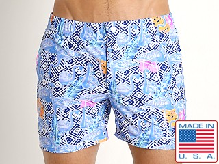 LASC Laguna Swim Shorts Blue Flamingo