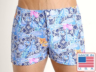 LASC Malibu Swim Shorts Blue Flamingo