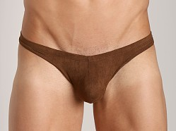 Tulio Suede Power Pouch Thong Brown