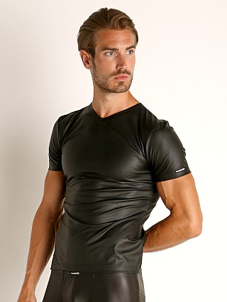 Model in black Manstore Vegan Leather V-Neck Tee
