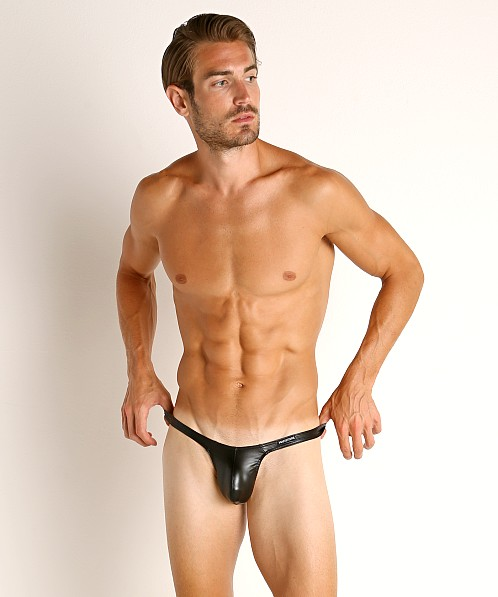 Manstore Rubberized Shiny Tower Thong Black