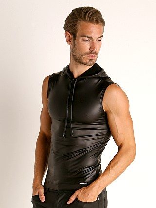 Manstore Matte Latex-Look Hoody Tank Top Black