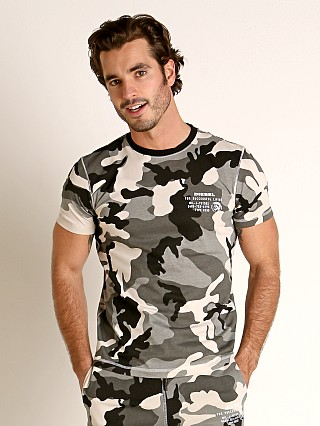 Model in camo green Diesel Diegos T-Shirt