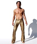 Rufskin Roncho Limited Edition Rubberized Flare-Leg Pants Gold, view 1