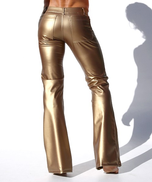 Rufskin Roncho Limited Edition Rubberized Flare-Leg Pants Gold