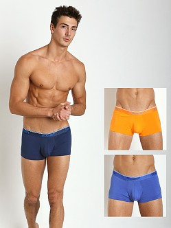 2xist Cotton Stretch No-Show Trunks 3-Pack Blue/Orange/Dazzling