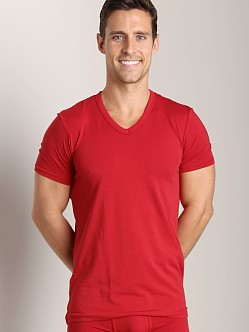Wood V-Neck Tee Crimson Red