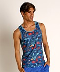 St33le Blue Aquatic Stretch Mesh Tank Top, view 3