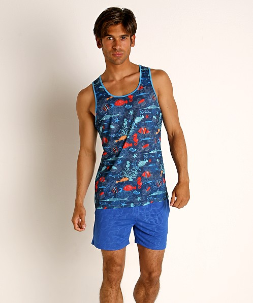 St33le Blue Aquatic Stretch Mesh Tank Top