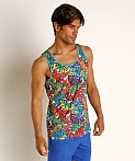 St33le Rainbow Graffiti Stretch Mesh Tank Top, view 3