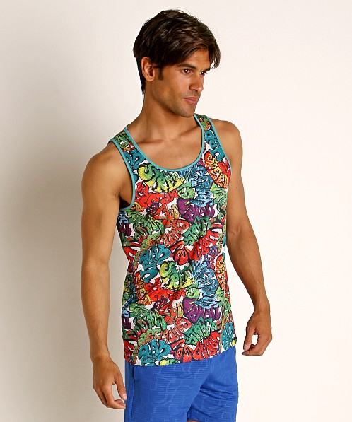St33le Rainbow Graffiti Stretch Mesh Tank Top