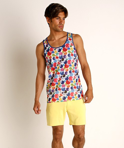 St33le Rainbow Smiley Stretch Mesh Tank Top