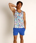St33le Blue Abstract Stretch Jersey Tank Top, view 1